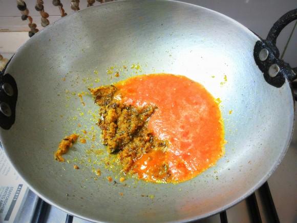 Adding tomato paste