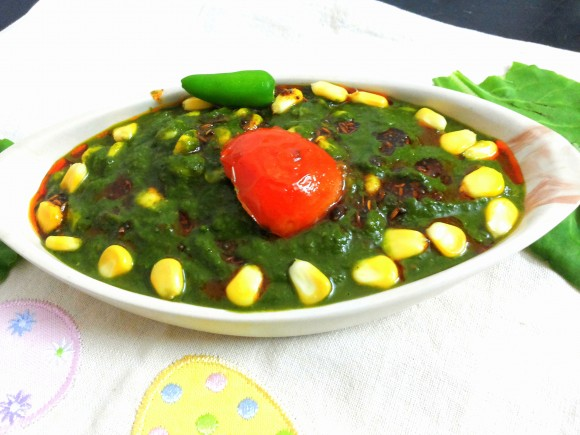 palak(spinach) corn curry