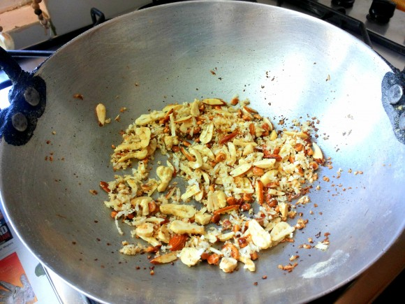 frying dry fruits,