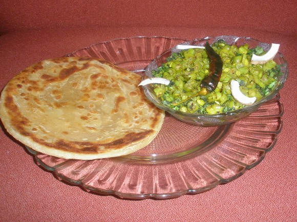 French beans (Green bean) fry with paratha.