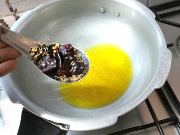 add cumin seed, Kalonji and whole red chili