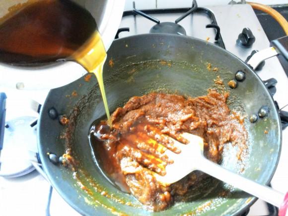 adding jaggery syrup