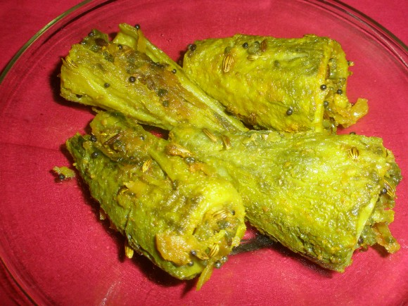 stuff karela without onion and garlic