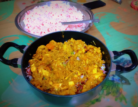 cooked rice and sabji