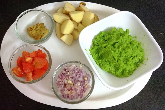 Ingredients of Green peas curry (godila / nimona)