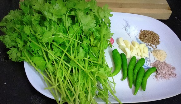ingredients of Green chatney (green coriander chatney)