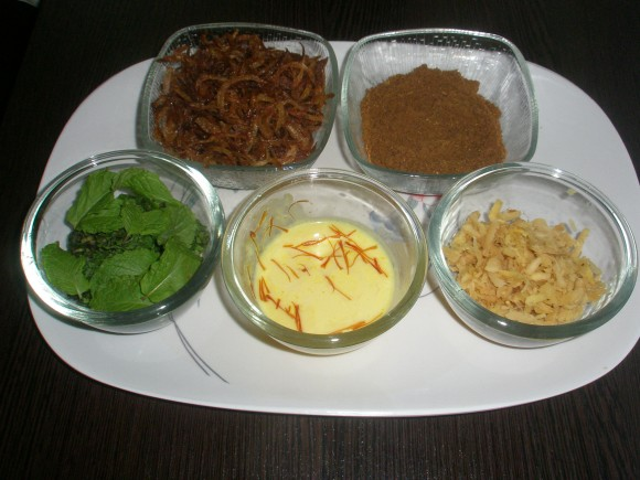 Ingredients for layering the biryani: