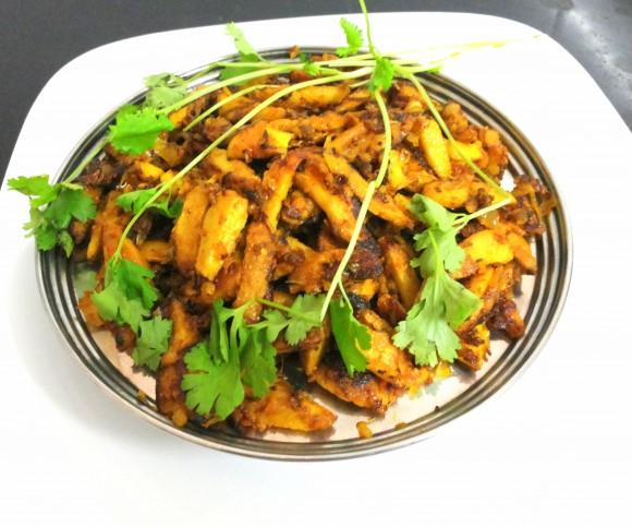 Arabi ka bhujia (taro root fry)