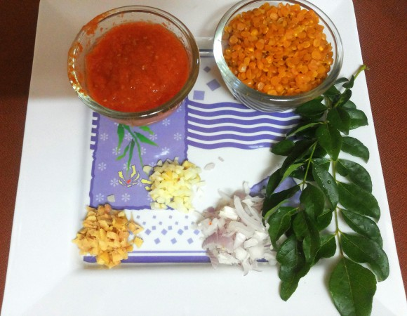 Ingredients of Toovar/arhar (split pigeon pea) dal