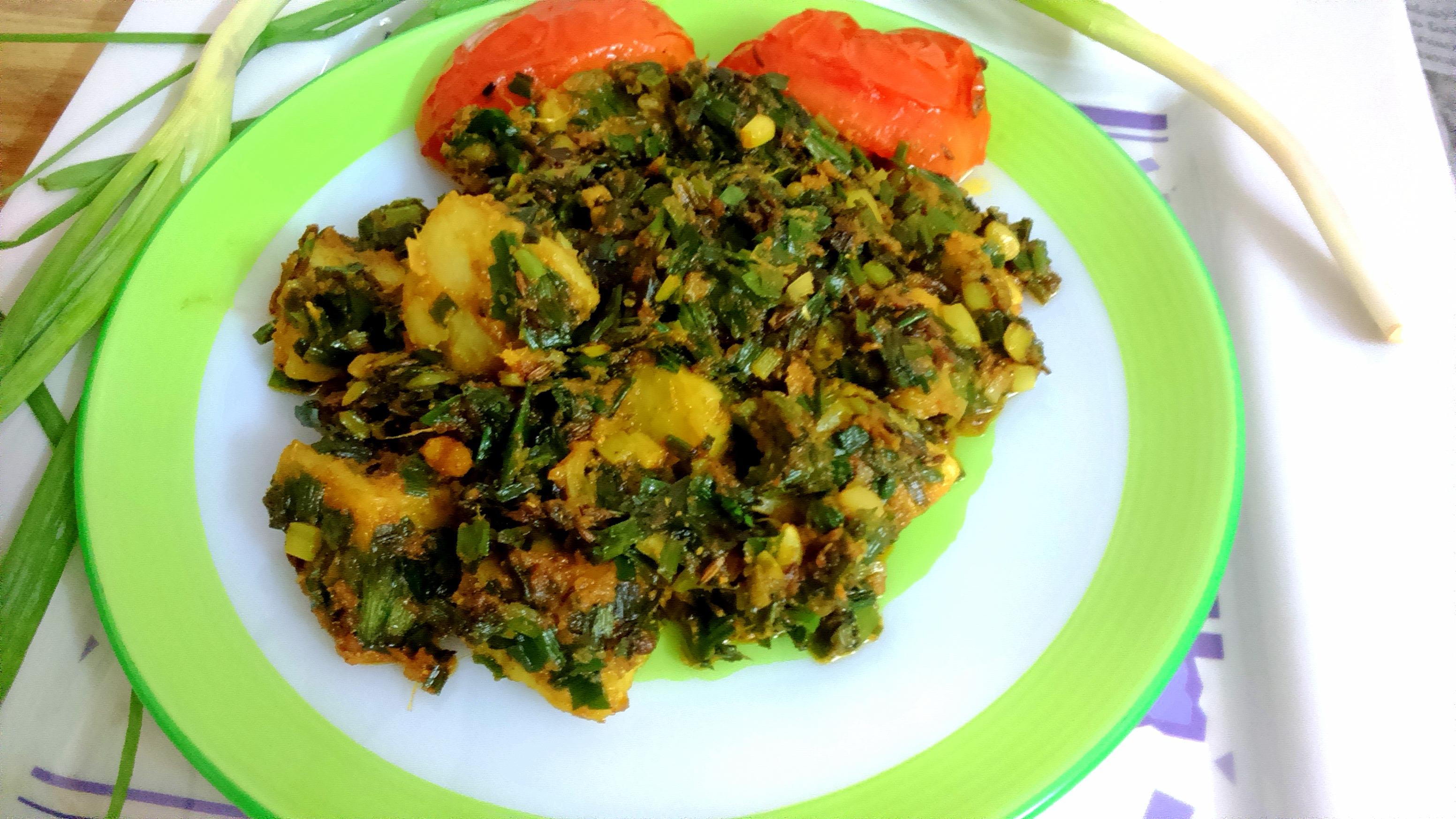 Spring Onion With Aaloo Potato Ki Sabji Indian Cooking