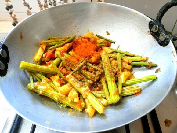 adding masala