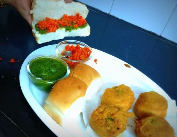 serving vada- pav