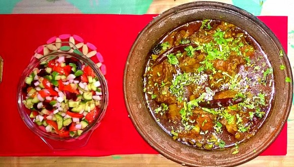 Deshi Chula, earthen pot mutton stew with salad