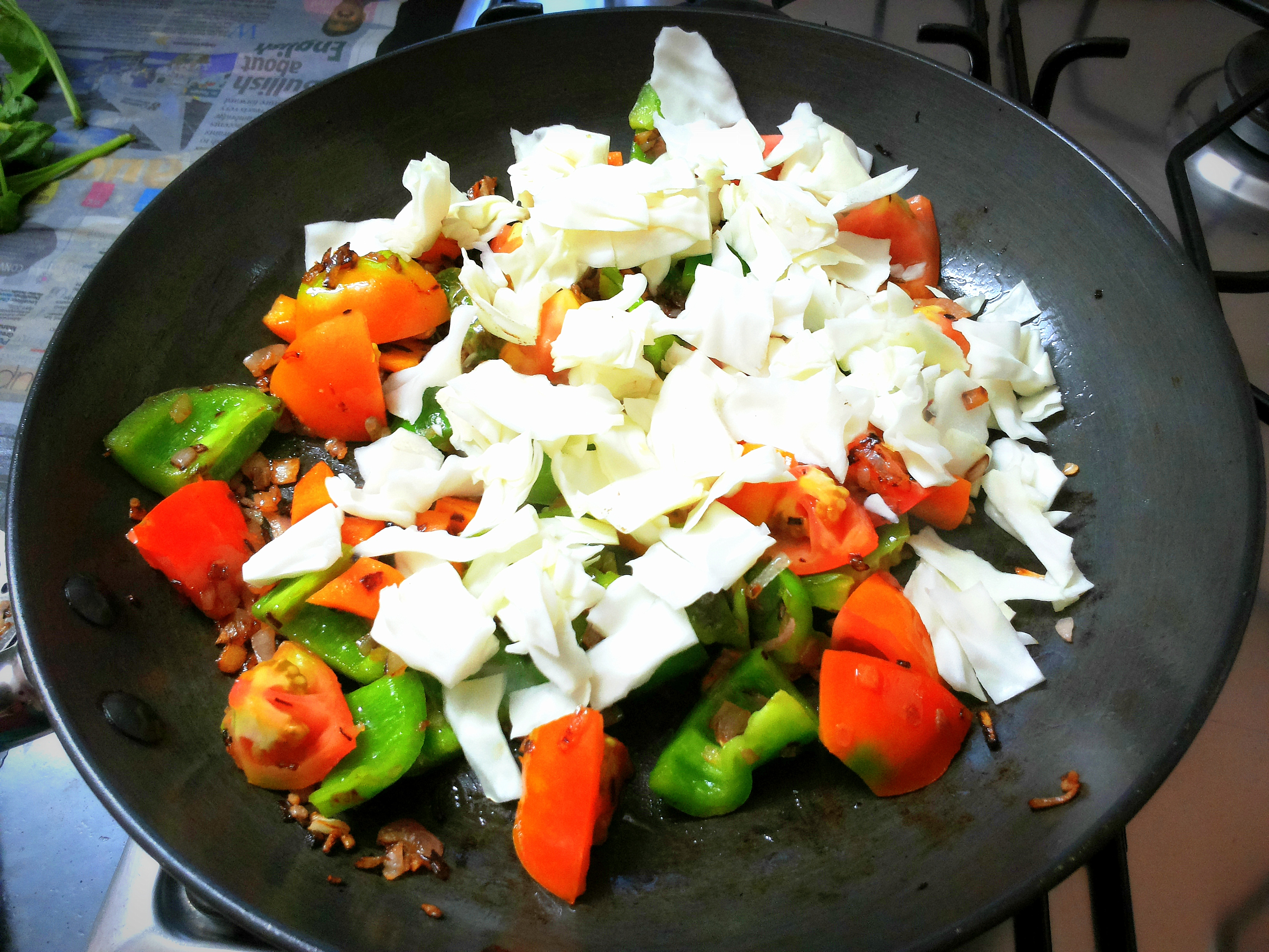 Cabbage, capsicum and carrot stir-fry with ginger fried rice. | Indian ...