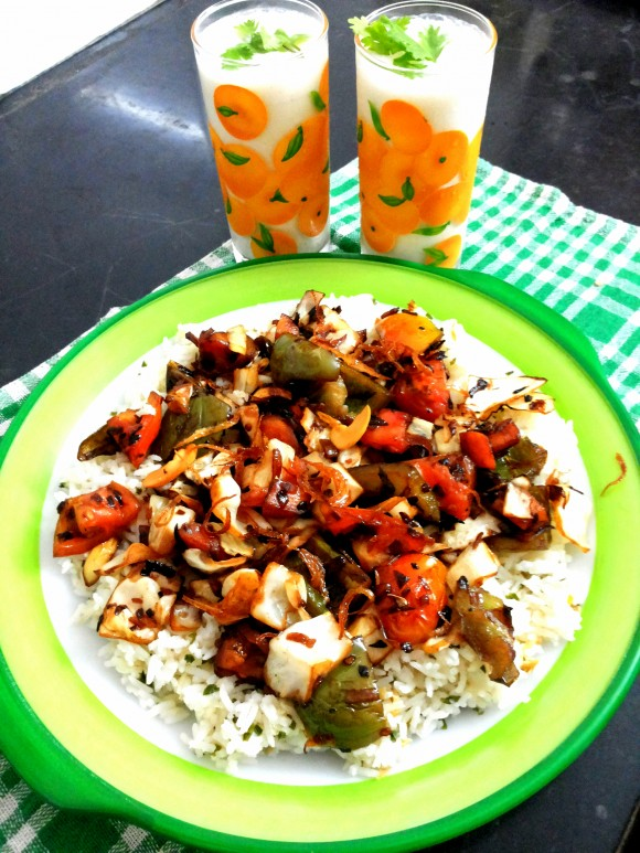 Cabbage, capsicum and carrot stir-fry with ginger rice.