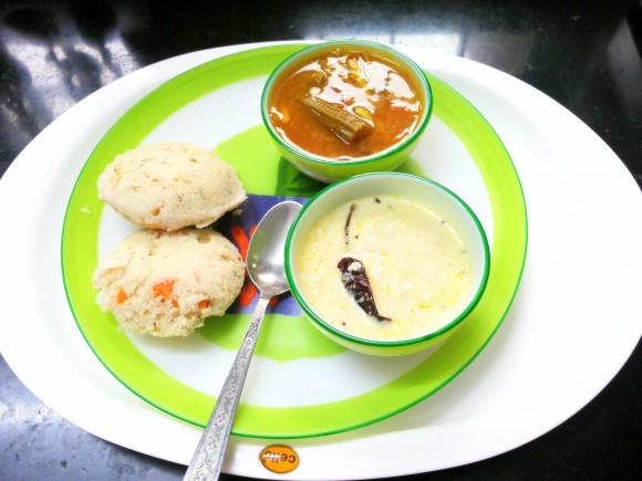 Vegetable idli (south Indian dish)