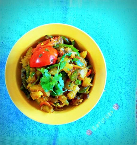 Tapioca (cassava root) and capsicum fry