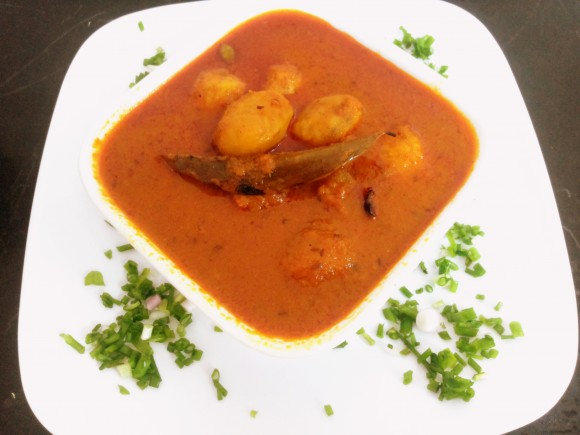 Pricked aaloo Dum (pricked potato masala)