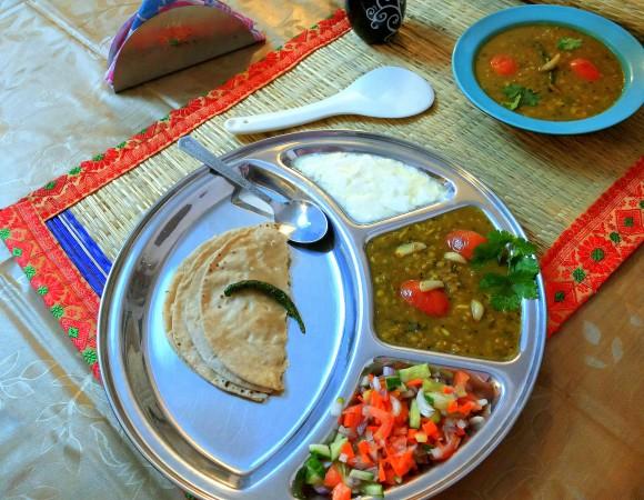 Garlicky Masoor dal (brown skin lentil/red lentil): dal
