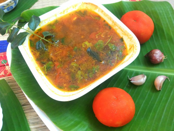 Tomato garlic rasam (south Indian dish)