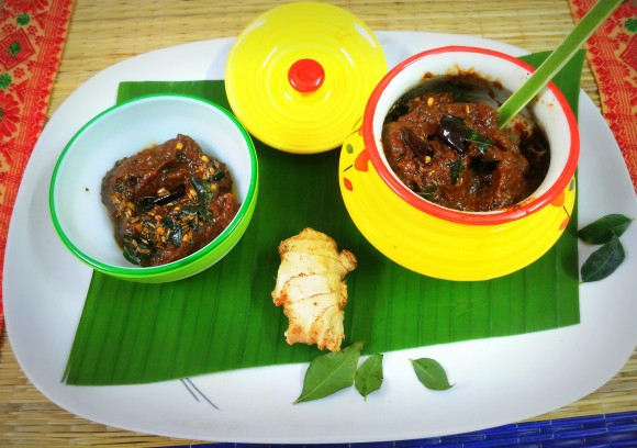 Ginger chutney/dip (south Indian dish)