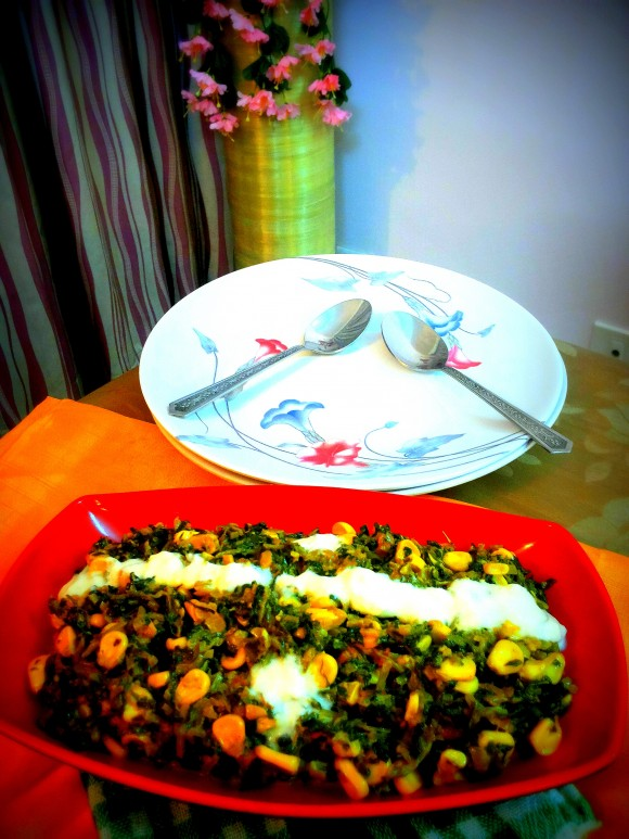 Fresh green methy (fenugreek leaves) makai (sweet corn) malai (fresh cream)