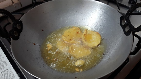 Deep fry all slices