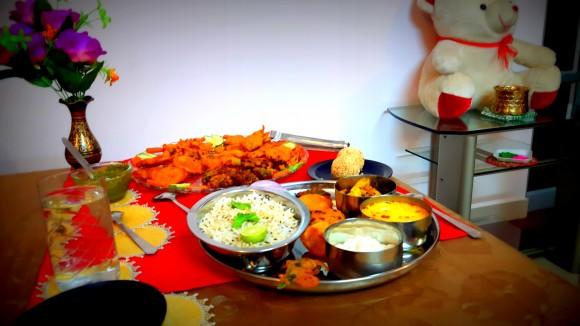 Holika dahan day (one day before Holi) Thali (from Bihar)
