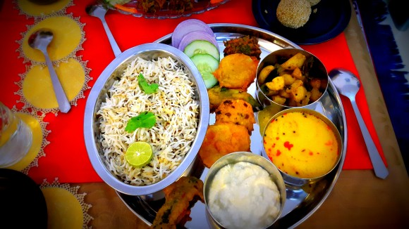 Holika dahan day (one day before Holi) Thali (from Bihar)
