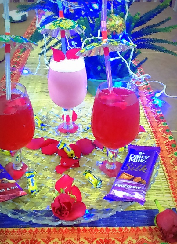 fresh rose petal drink
