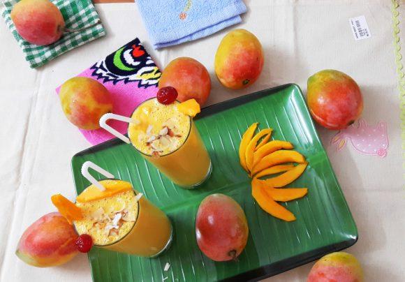 Sweet mango lassi (sweet mango yogurt drink)