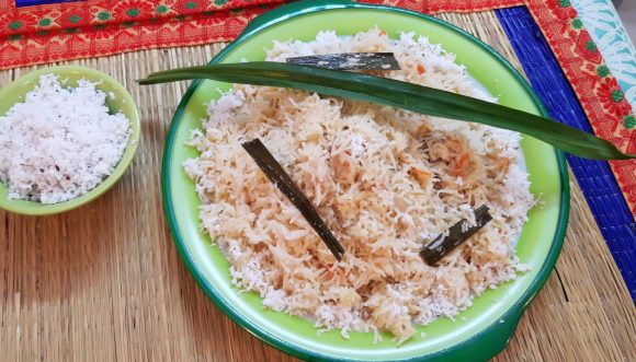 Coconut milk pulao (Thengai pal pulao)