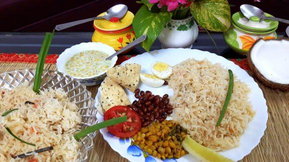 Coconut milk pulao (Thengai pal pulao)