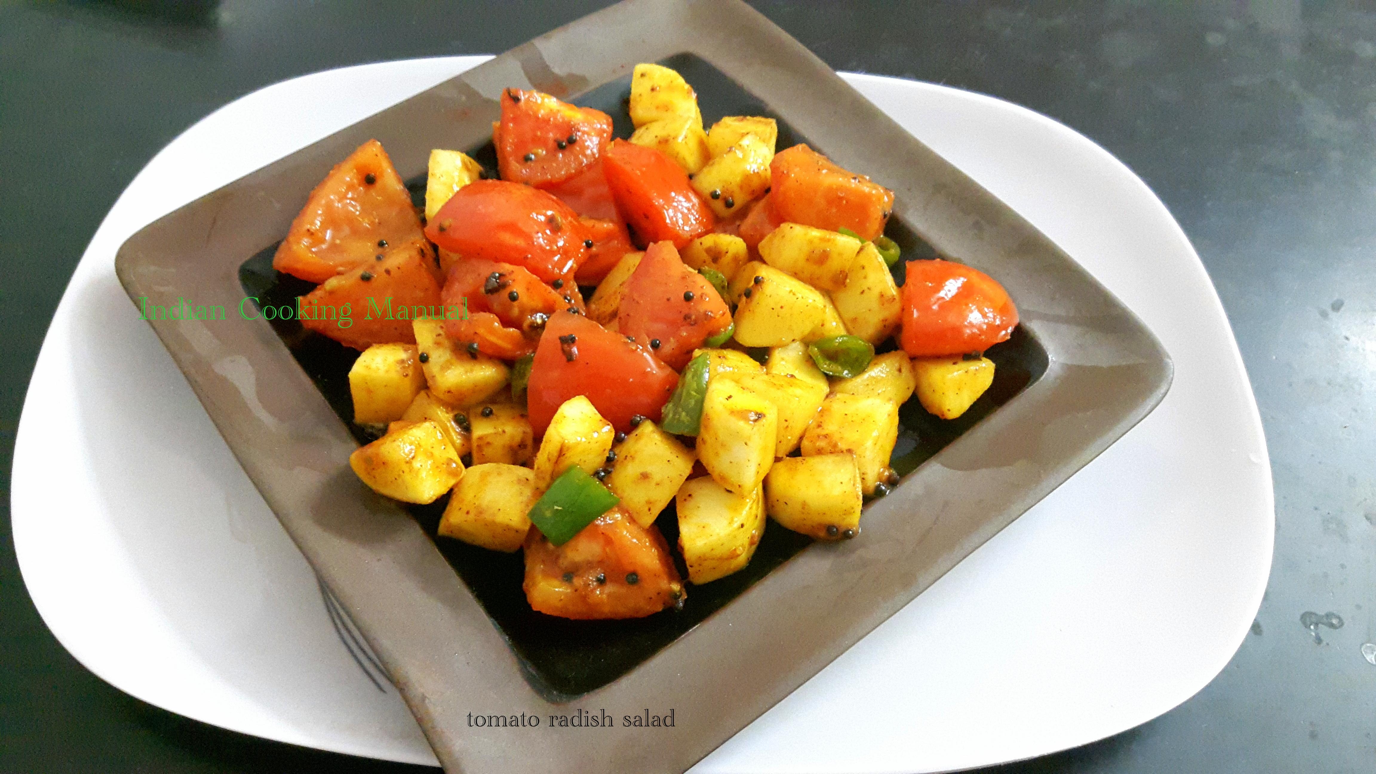 Tomato radish salad (stir fry)