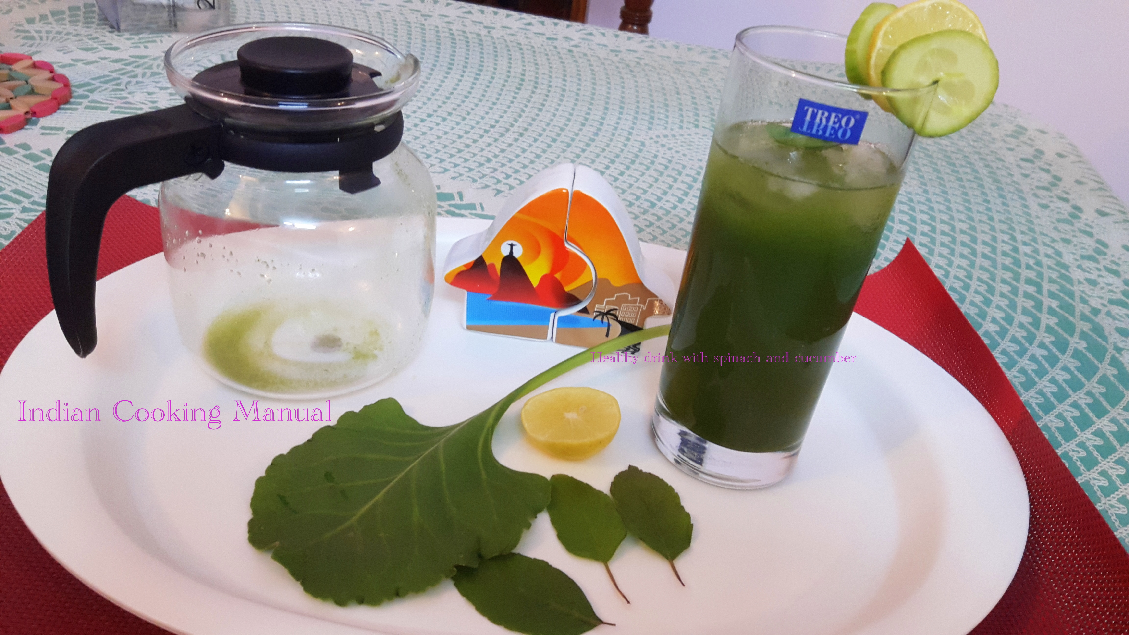 Healthy drink with spinach and cucumber (phalahari recipe)