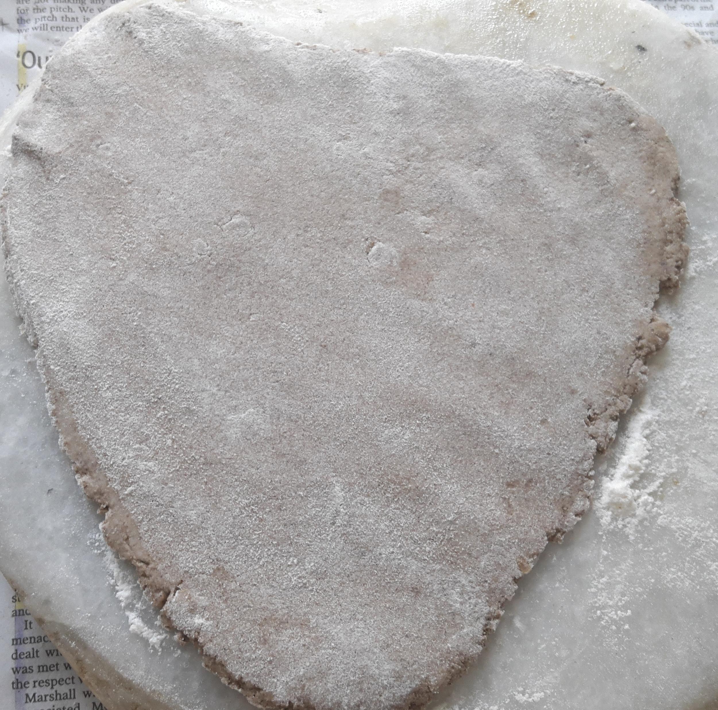 triangle shape raw paratha