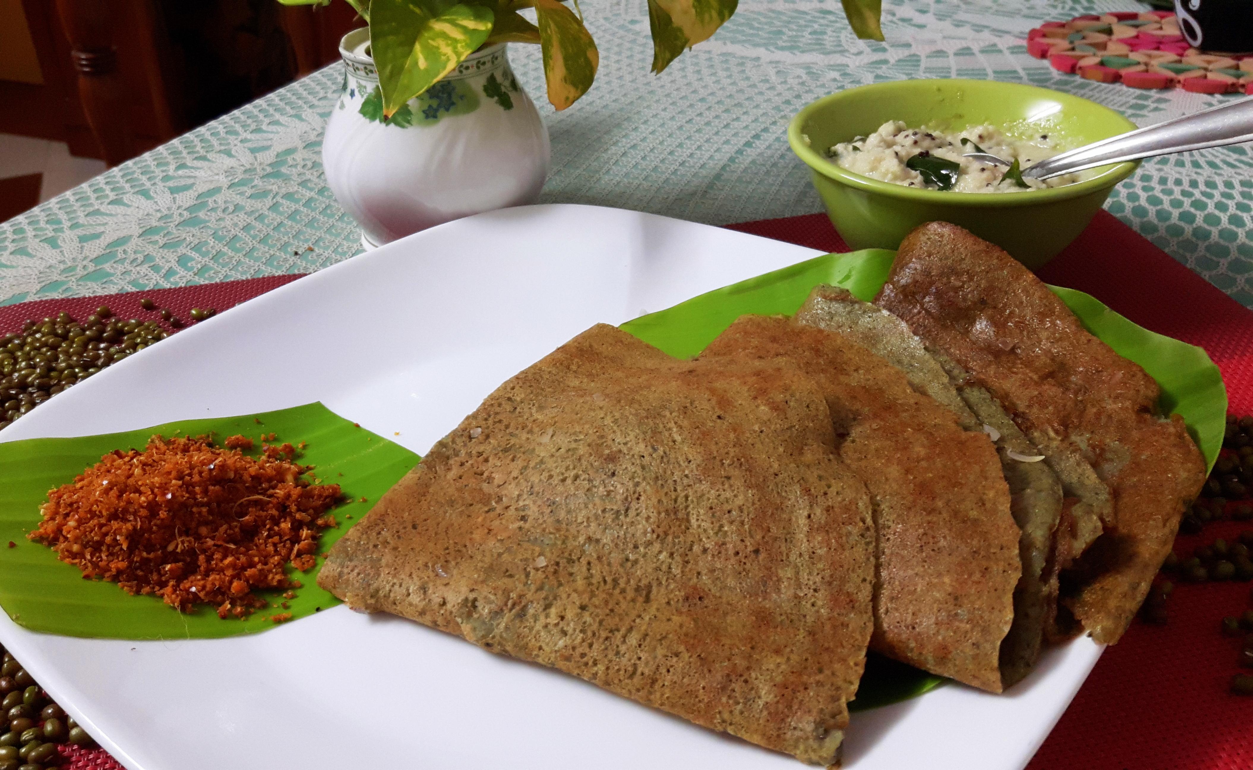 Mung dosa (green gram dosa/green dosa)