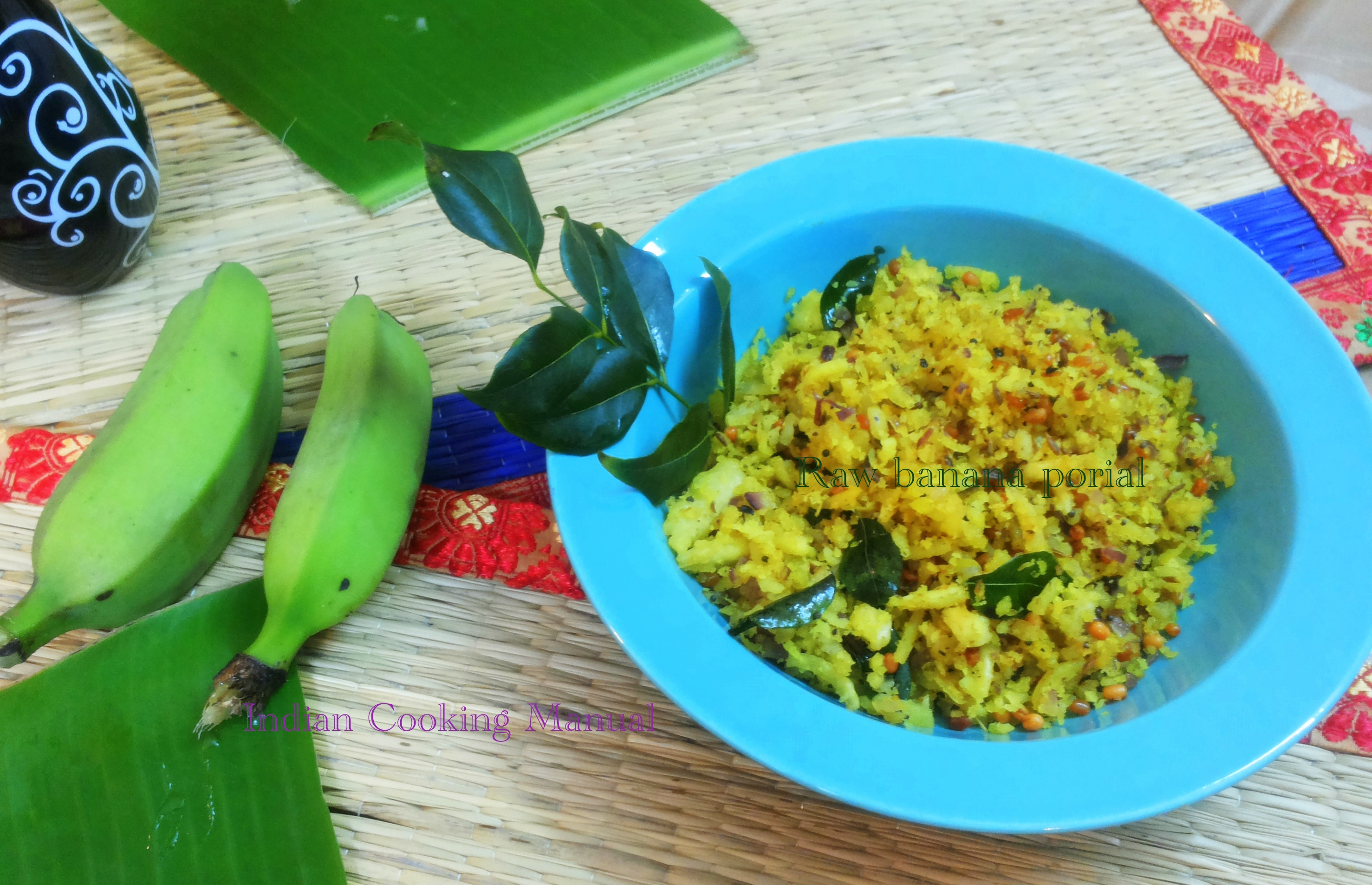 Raw banana poriyal/dry sabji (south Indian style)