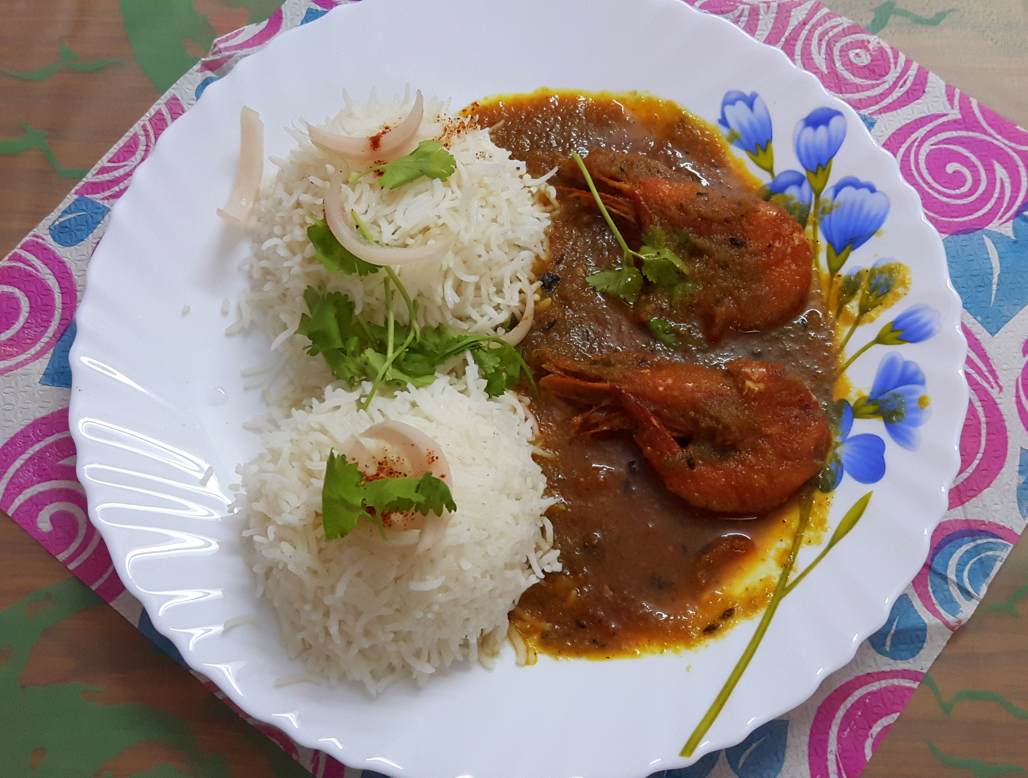 Prawn curry (with shell)
