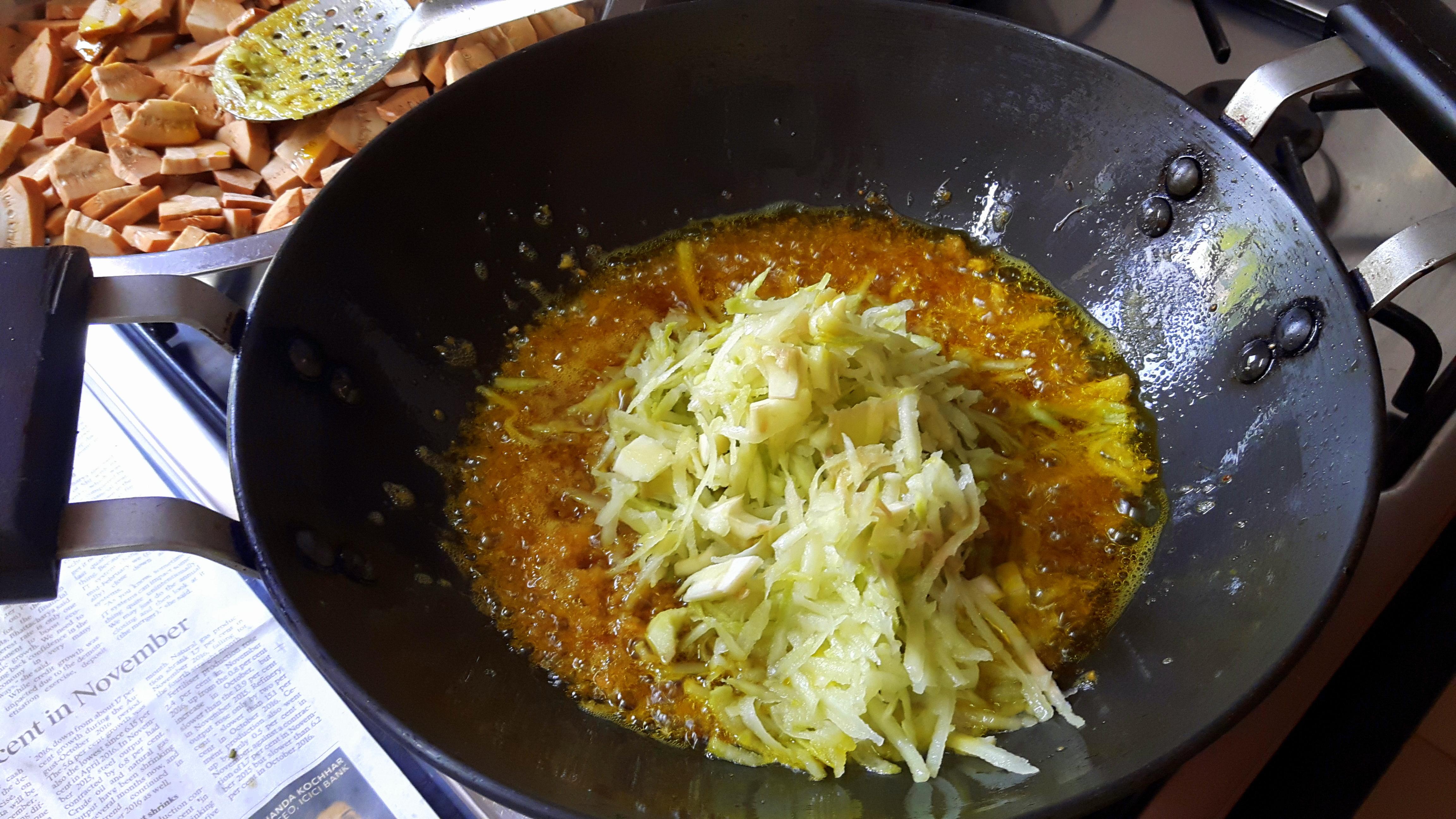 Add raw grated mango