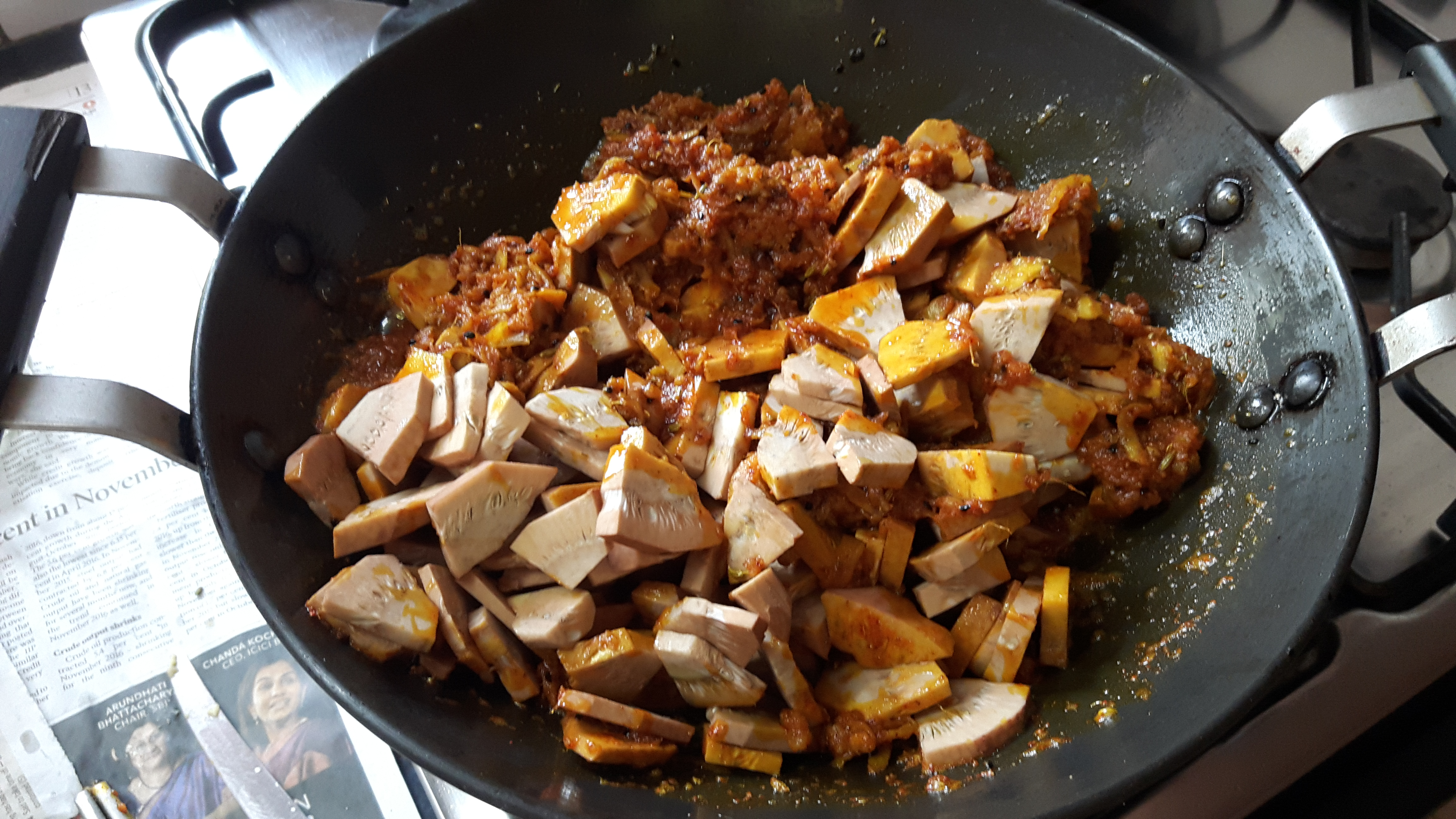 add Salt, onion seed, Turmeric powder, Funnel seed, and Red chili powder masala and raw jack fruit slice.