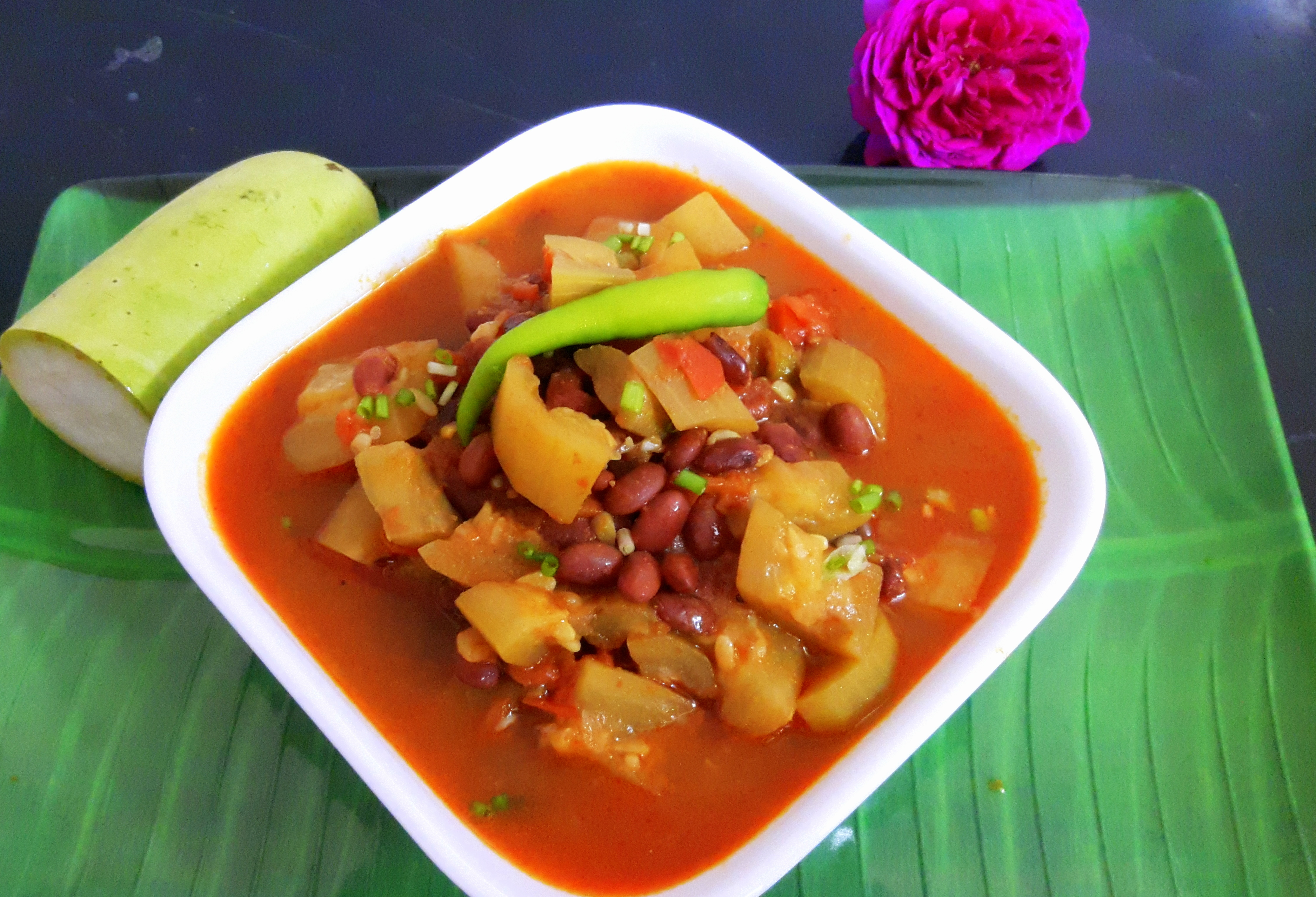 Lauki with Rajma (Bottle gourd with red beans)