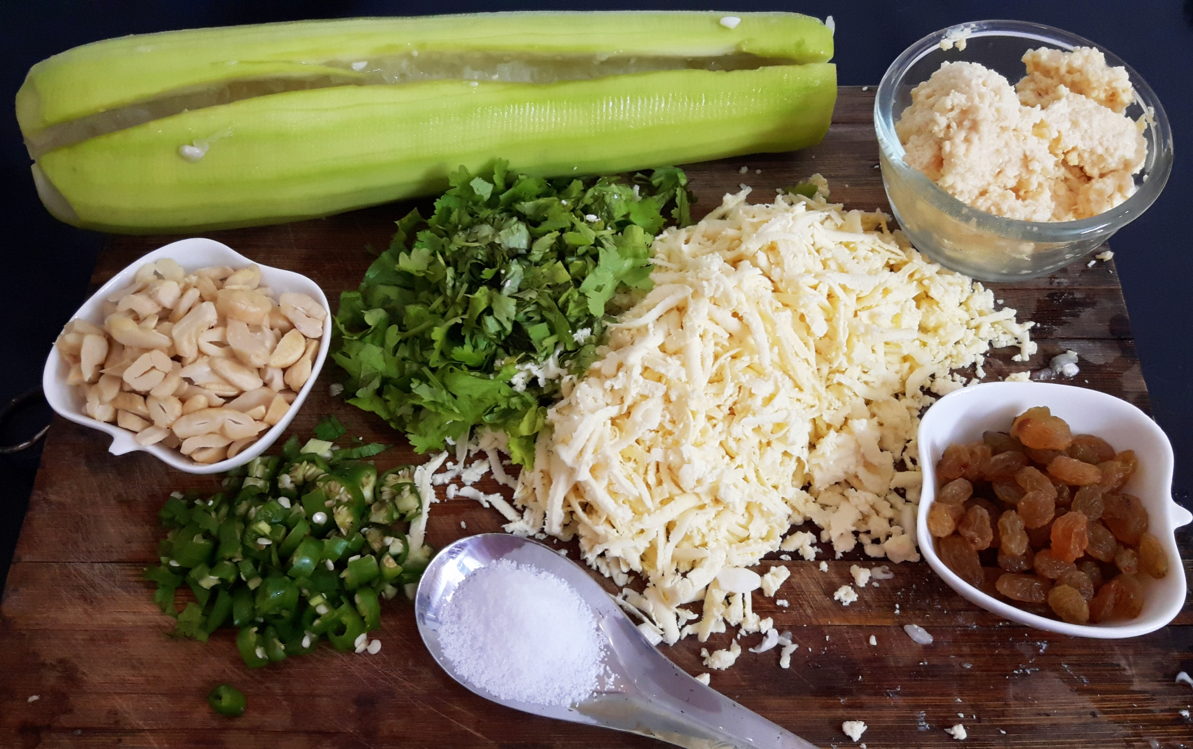 prepared stuffing ingredients
