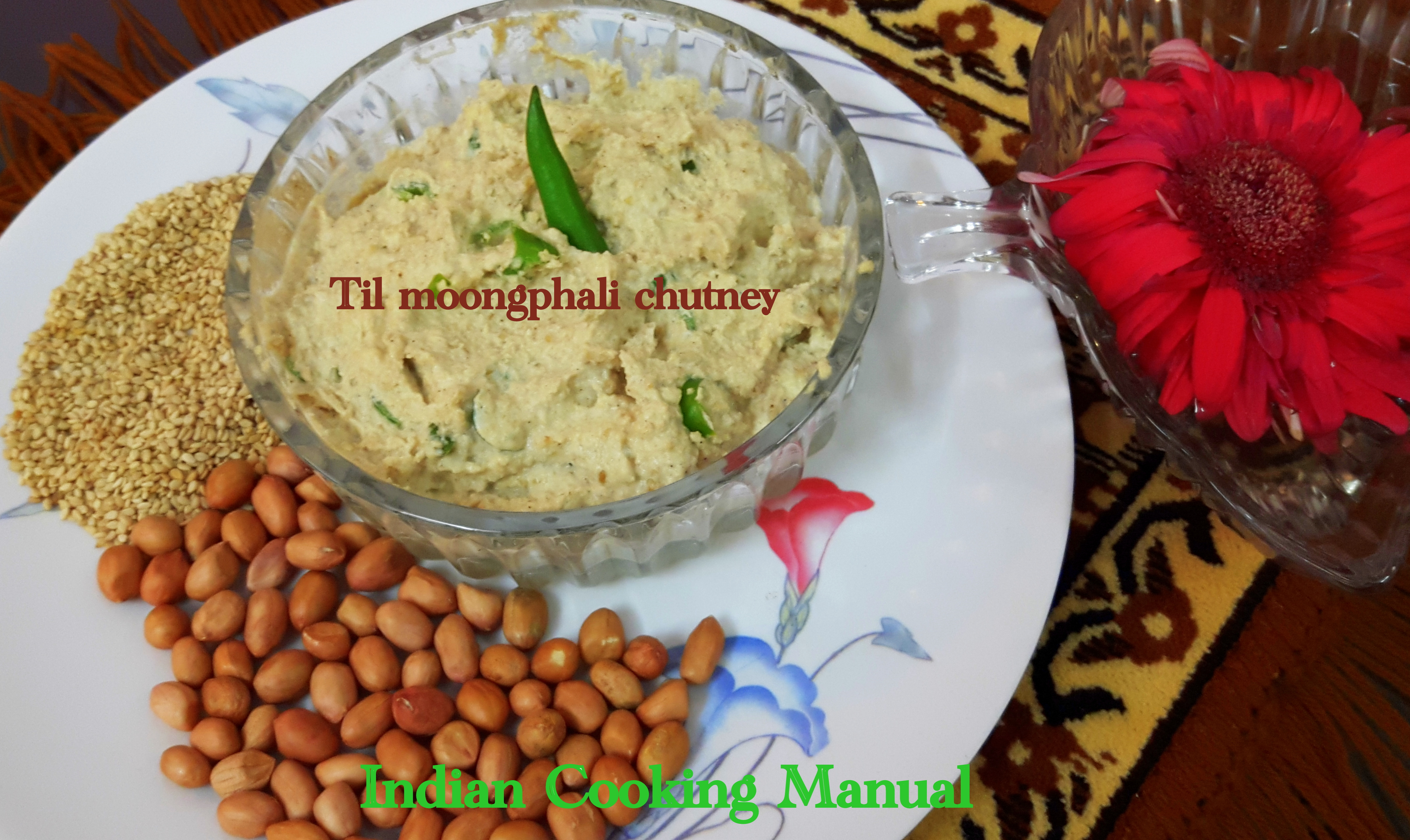 Til and moongphali chutney (peanut and sesame seed dip)