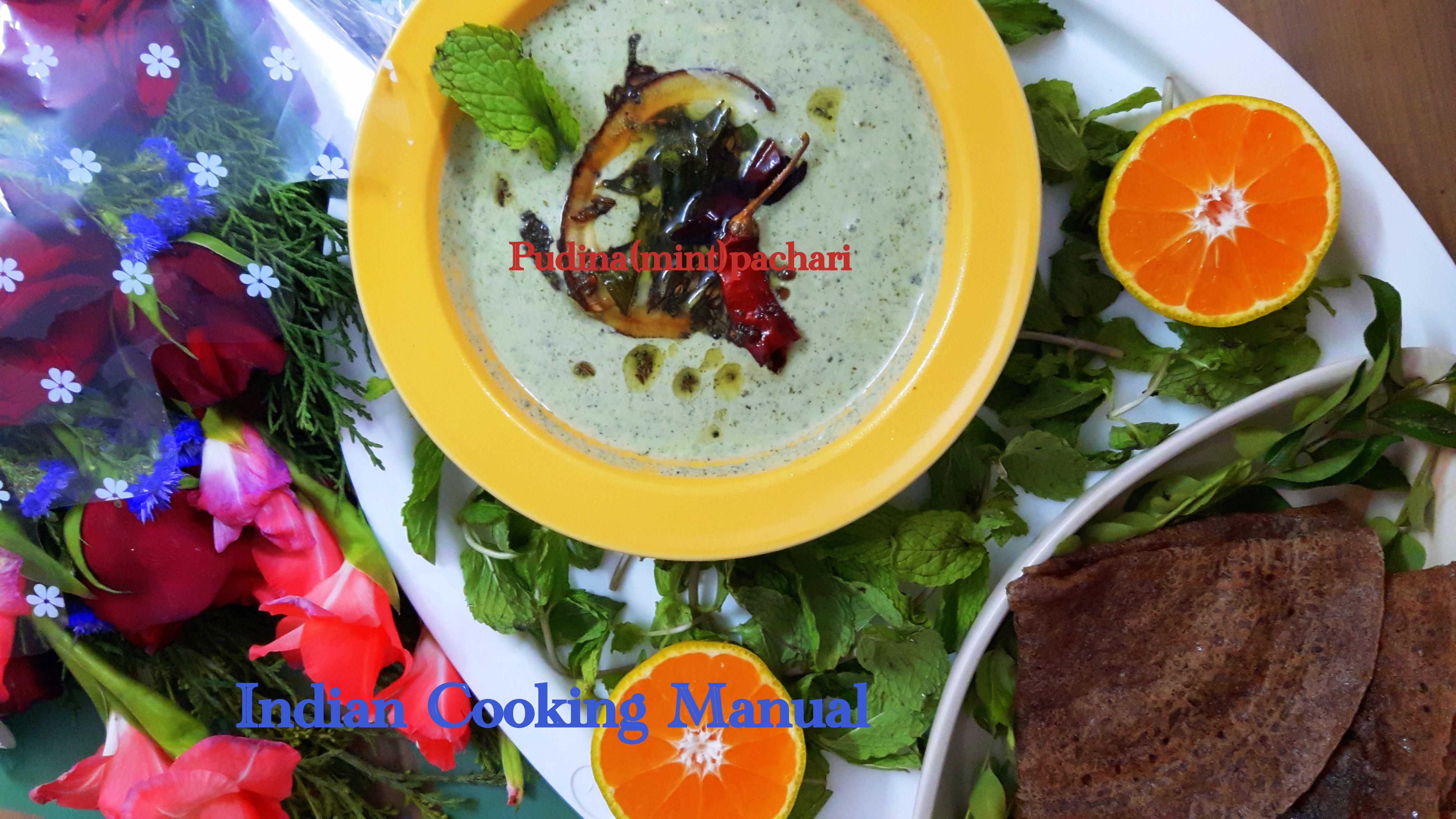 Pudina raita (mint thayir pachadi/pachari)