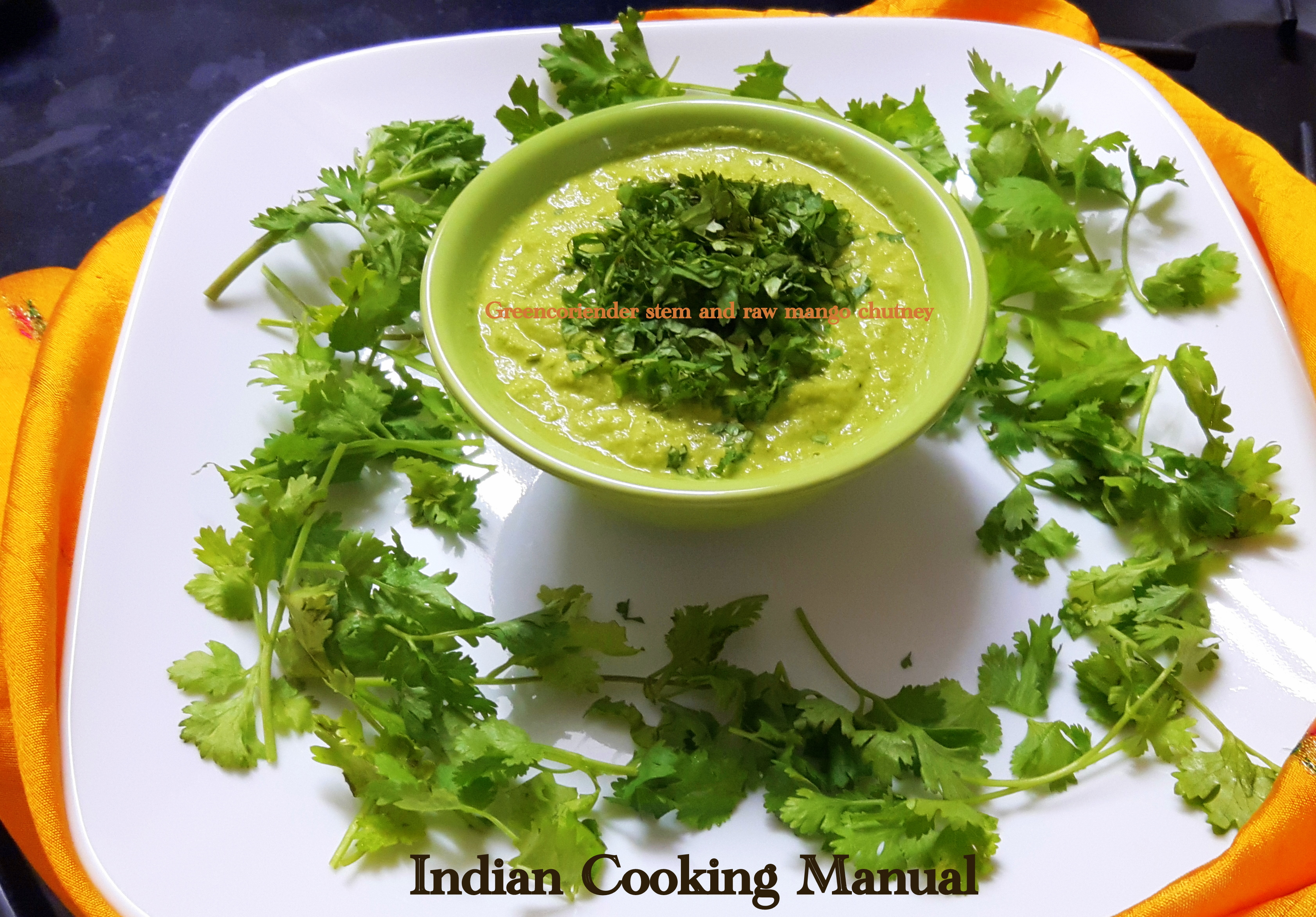 Green coriander stem and raw mango chutney