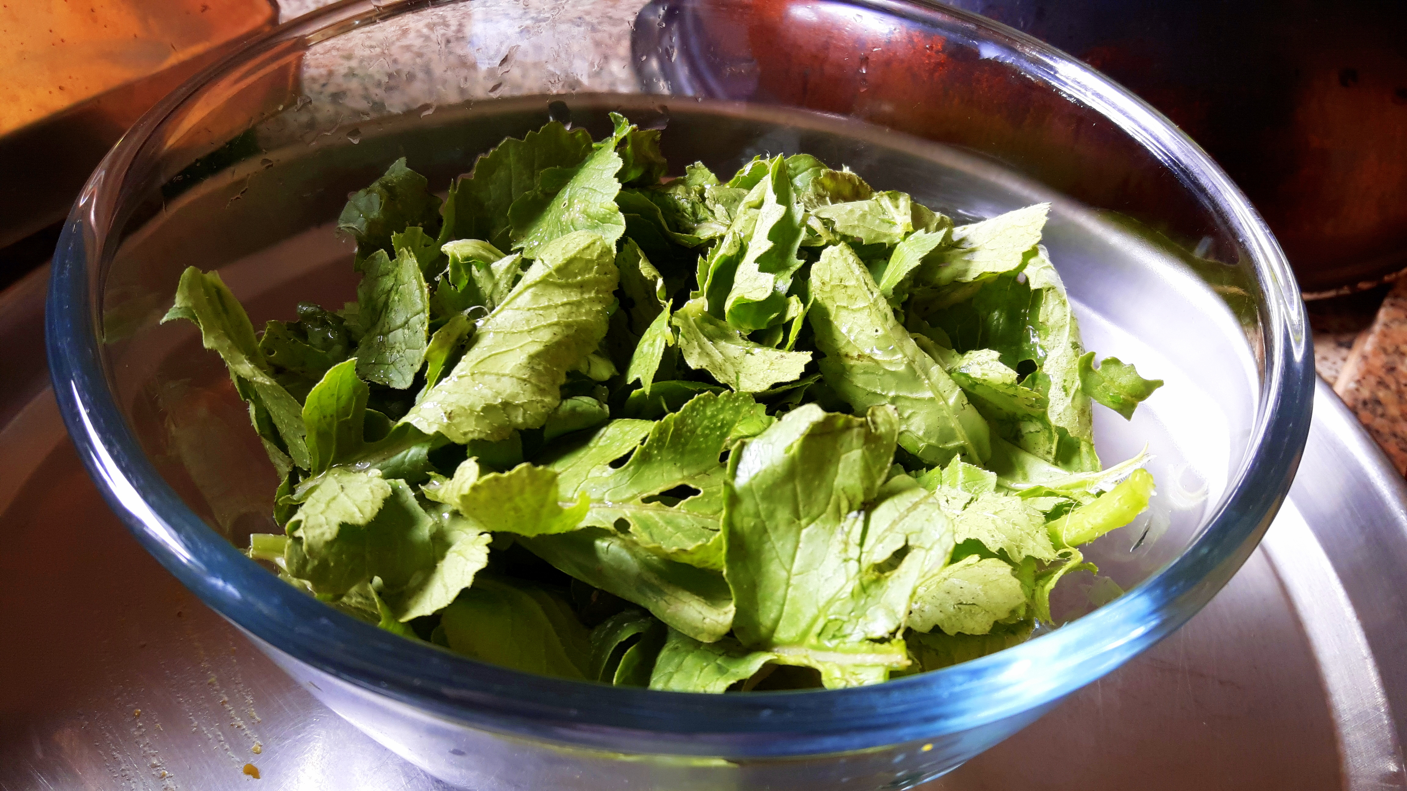 chop roughly and boil/microwave radish leaves