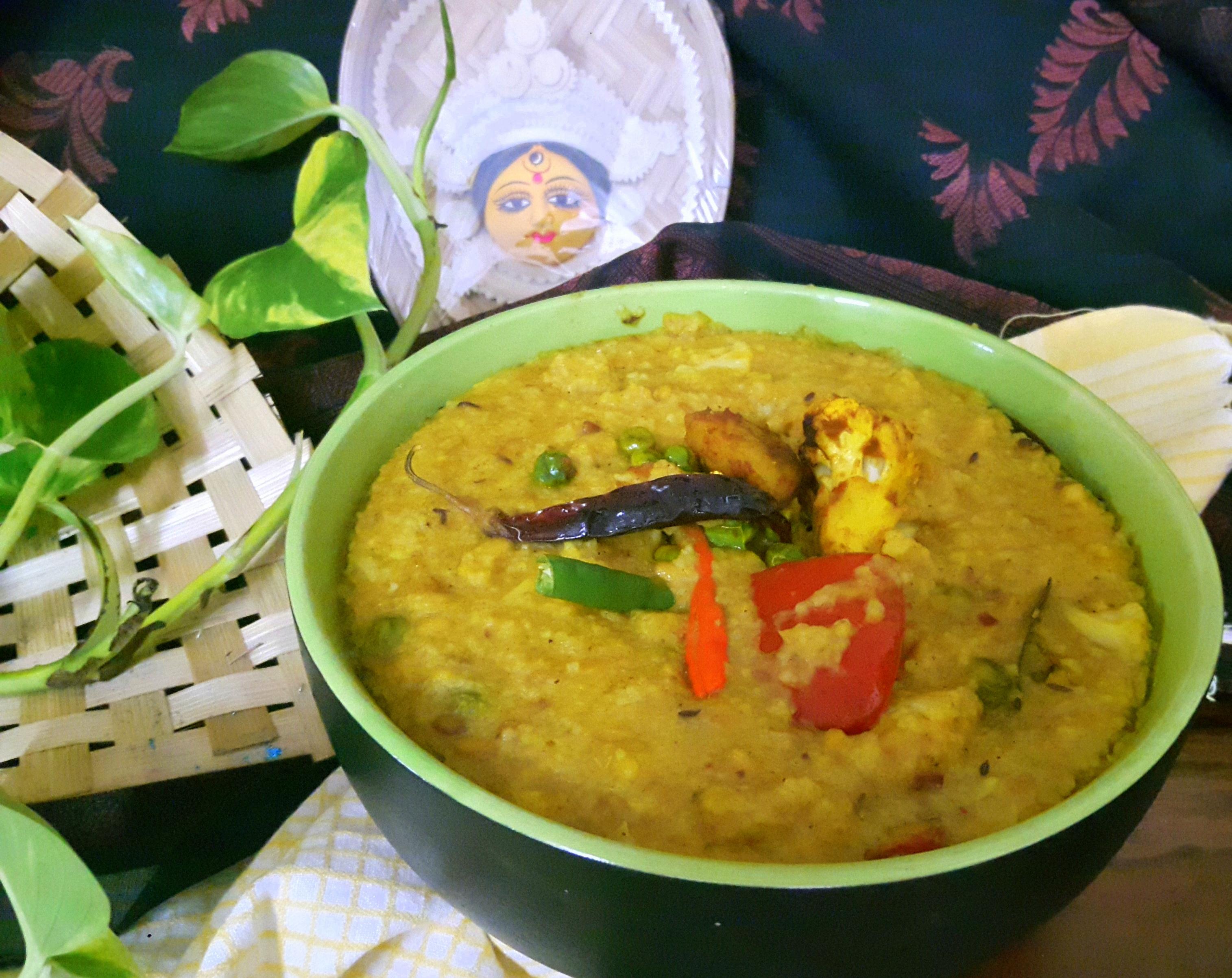 Bhog Khichadi (Bhoger Khichuri Rice and Lentil porridge)