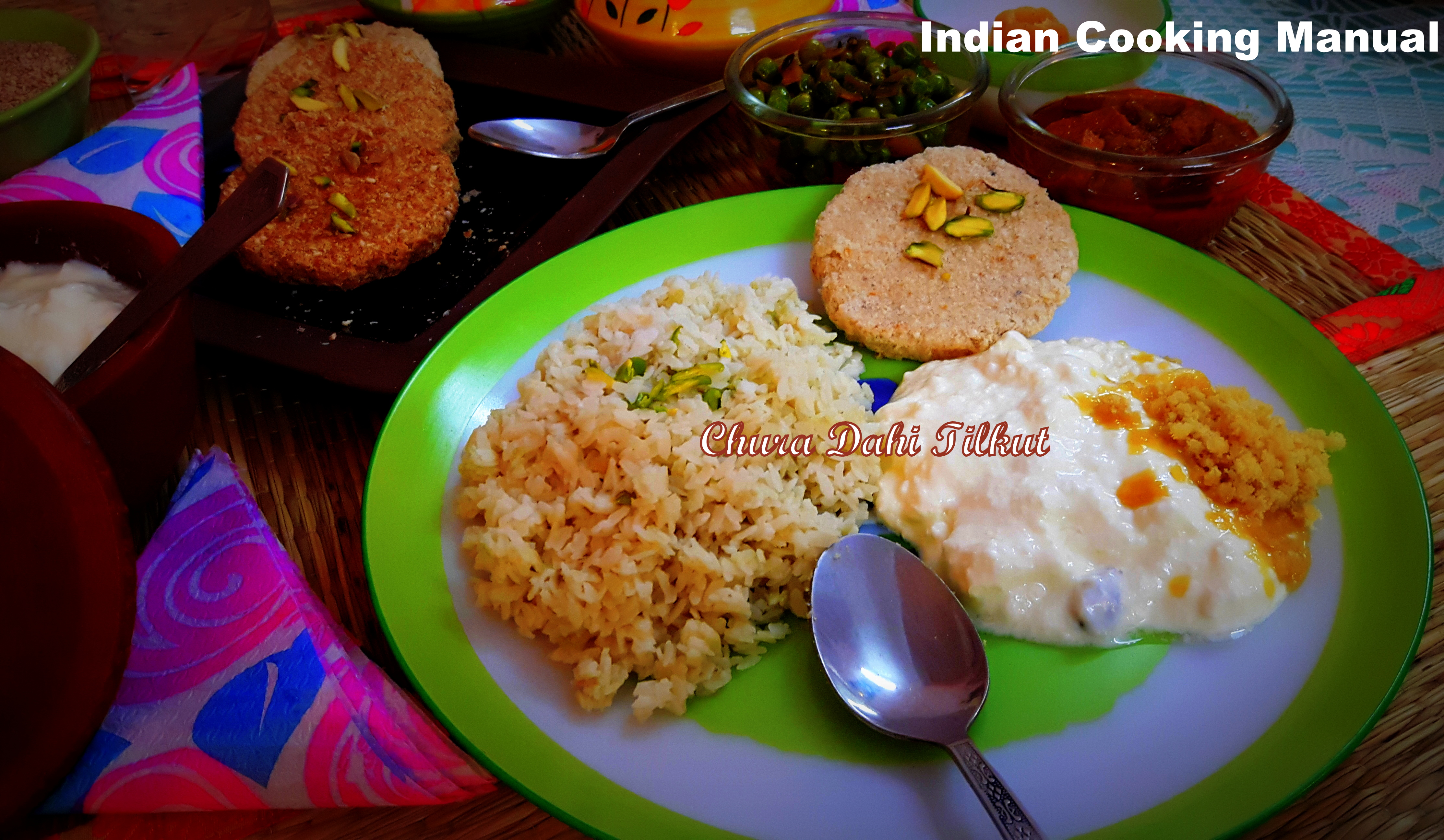 Chura Dahi Tilkut (Beaten Rice, Yogurt with pounded Sesame Sweet)