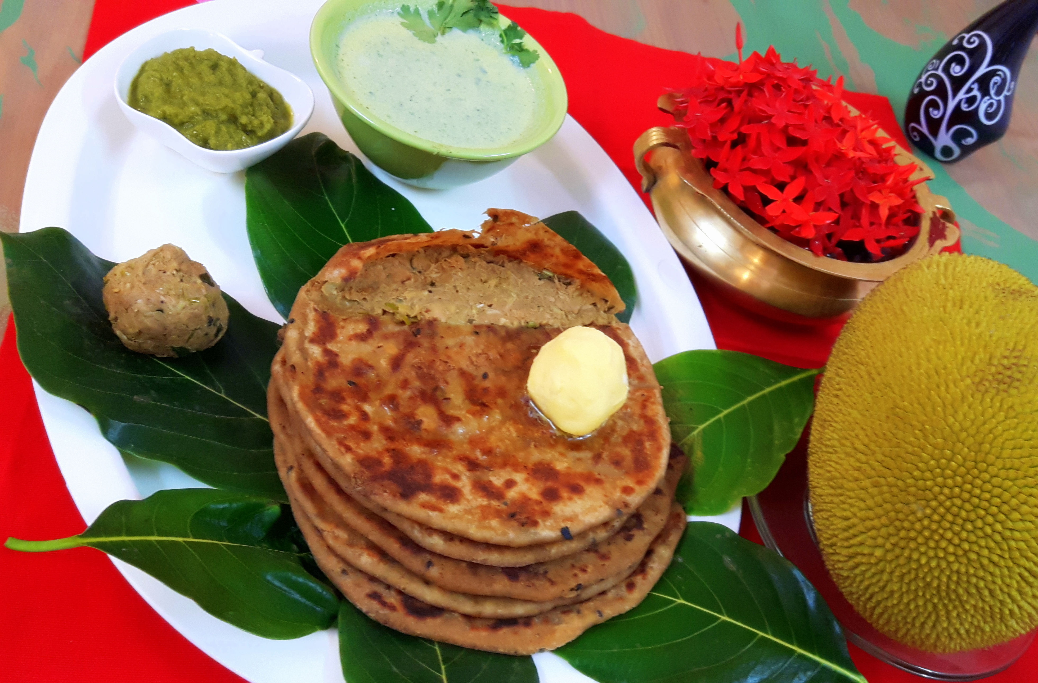 Raw jack fruit stuffed paratha